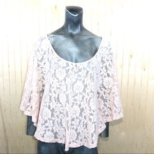 Frenchi Small Pink Floral Lace Blouse Top
